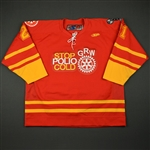 "Bowers, Justin<br>Red ""Stop Polio Cold"" -  Feb. 18<br>Greenville Road Warriors 2010-11<br>#21 Size:56"