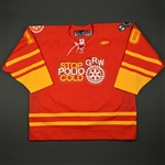 "Brouillette, Julien<br>Red ""Stop Polio Cold"" -  Feb. 18<br>Greenville Road Warriors 2010-11<br>#10 Size:56"