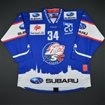 Matthews, Auston *<br>Blue Playoffs - Autographed - Photo-Matched<br>ZSC Lions 2015-16<br>#34 Size: XL