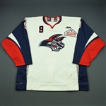 Connolly, Brendan<br>White Set 1<br>Elmira Jackals 2009-10<br>#9 Size: 56