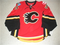 Irving, Leland<br>Red Set 1 - Game-Issued (GI)<br>Calgary Flames 2009-10<br>#33 Size: 58G