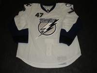 Hutchings, Alex<br>White Set 1 - Game-Issued (GI)<br>Tampa Bay Lightning 2009-10<br>#47 Size: 56