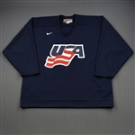 Booth, David * <br>Blue, U.S. Olympic Mens Orientation Camp Worn Jersey, Signed<br>USA 2009<br>#10 Size: XL