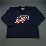 Drury, Chris * <br>Blue, U.S. Olympic Mens Orientation Camp Worn Jersey, Signed<br>USA 2009<br>#23 Size: XL
