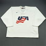 Gleason, Tim * <br>White, U.S. Olympic Mens Orientation Camp Worn Jersey, Signed<br>USA 2009<br>#6 Size: XL