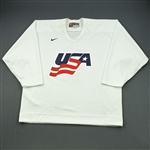 Hainsey, Ron * <br>White, U.S. Olympic Mens Orientation Camp Worn Jersey, Signed<br>USA 2009<br>#6 Size: XL