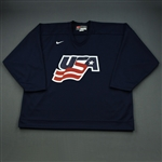 Komisarek, Mike * <br>Blue, U.S. Olympic Mens Orientation Camp Issued Jersey, Signed<br>USA 2009<br>#8 Size: XXL