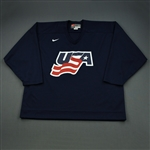 Malone, Ryan * <br>Blue, U.S. Olympic Mens Orientation Camp Worn Jersey, Signed<br>USA 2009<br>#12 Size: XXL