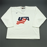 Suter, Ryan * <br>White, U.S. Olympic Mens Orientation Camp Worn Jersey, Signed<br>USA 2009<br>#20 Size: XL
