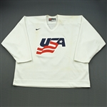 Whitney, Ryan * <br>White, U.S. Olympic Mens Orientation Camp Worn Jersey, Signed<br>USA 2009<br>#19 Size: XXL