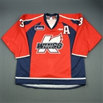 Mason, Jeff<br>Red Set 1 w/A<br>Kalamazoo Wings 2009-10<br>#3 Size: 56