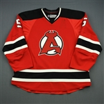 Larsson, Adam<br>Red 2nd half w/A removed<br>Albany Devils 2012-13<br>#5 Size: 58