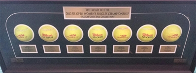 Serena Williams vs. Victoria Azarenka<br>Framed - Road to the Championship - Womens Finals<br>US Open 2013<br>#3 of 3 Size:12.5 inches high X 31 inches wide by 3 1/2 inches