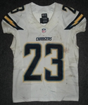 Brown, Ronnie<br>White Playoffs - worn 1/5/14 vs. Cincinnati and 1/12/14 vs. Denver<br>San Diego Chargers 2013<br>#23 Size: 40 L-BK