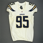 Geathers, Kwame<br>White Playoffs - worn 1/5/14 vs. Cincinnati<br>San Diego Chargers 2013<br>#95 Size: 46 L-BK