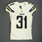 Marshall, Richard<br>White Playoffs - worn 1/5/14 vs. Cincinnati and 1/12/14 vs. Denver<br>San Diego Chargers 2013<br>#31 Size: 38 SKILL