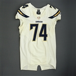 Ohrnberger, Rich<br>White Playoffs - worn 1/5/14 vs. Cincinnati and 1/12/14 vs. Denver<br>San Diego Chargers 2013<br>#74 Size: 50 LINE