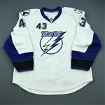 Wright, James<br>White Set 1 (NHL Debut)<br>Tampa Bay Lightning 2009-10<br>#43 Size: 56