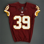 Amerson, David<br>Burgundy, Worn Sunday  September 22, 2013 vs. Detroit Lions<br>Washington Redskins 2013<br>#39 Size:42 SKILL