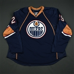 Bendfeld, Jordan<br>Navy Set 1 - Training Camp Only<br>Edmonton Oilers 2008-09<br>#29 Size: 58