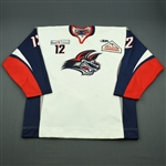 Campanale, Matt<br>White Set 1 (A removed)<br>Elmira Jackals 2011-12<br>#12 Size: 58