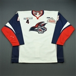 Godfrey, Josh<br>White Set 1 (A removed)<br>Elmira Jackals 2011-12<br>#4 Size: 58