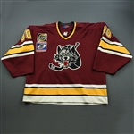 Shulmistra, Richard * <br>Maroon, 2001 Turner Cup Championship Patch<br>Chicago Wolves 2000-01<br>#30 Size: 58G