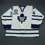 Hoglund, Jonas * <br>White, NHL 2000 Patch, Hockey Hall of Fame Game Patch<br>Toronto Maple Leafs 1999-00<br>#14 Size: 56