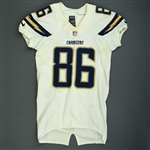 Brown, Vincent<br>White - Worn November 3, 2013 at Washington<br>San Diego Chargers 2013<br>#86 Size: 40 SKILL