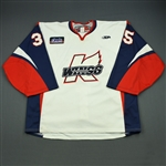 Clermont, Maxime<br>White Set 1<br>Kalamazoo Wings 2011-12<br>#35 Size: 58G