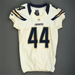 Battle, Jackie<br>White - worn November 11, 2012 vs. Tampa Bay<br>San Diego Chargers 2012<br>#44 Size: 44