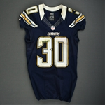 Brown, Ronnie<br>Navy - worn November 1, 2012 vs. Kansas City<br>San Diego Chargers 2012<br>#30 Size: 40