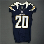 Cason, Antoine<br>Navy - worn November 1, 2012 vs. Kansas City<br>San Diego Chargers 2012<br>#20 Size: 38