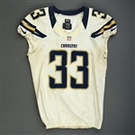 McClain, LeRon<br>White - worn November 11, 2012 vs. Tampa Bay<br>San Diego Chargers 2012<br>#33 Size: 44