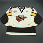 Gajewski, Kyle<br>White Set 1 w/Kelly Cup Champs Patch<br>Cincinnati Cyclones 2008-09<br>#35 Size: 58G
