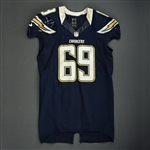 Green, Tyronne<br>Navy - worn November 1, 2012 vs. Kansas City<br>San Diego Chargers 2012<br>#69 Size: 48