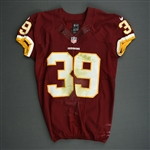 Amerson, David<br>Burgundy, Worn October 20, 2013 vs. Chicago Bears<br>Washington Redskins 2013<br>#39 Size:42 SKILL