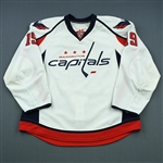 Backstrom, Nicklas * <br>White Set 2, and Goal Puck from Feb. 4, 2010 while wearing this jersey<br>Washington Capitals 2009-10<br>#19 Size:56