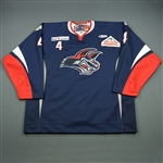 Godfrey, Josh<br>Navy Set 1 Game-Issued (A removed)<br>Elmira Jackals 2011-12<br>#4 Size: 58
