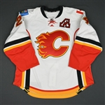 Hudler, Jiri * <br>White  Set 2 w/A  - Photo-Matched - Lady Byng Memorial Trophy Winner<br>Calgary Flames 2014-15<br>#24 Size: 54