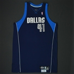 Nowitzki, Dirk * <br>Navy Set 2 - Worn in 23 games - Photo-Matched to 5 Games<br>Dallas Mavericks 2008-09<br>#41 Size: 54+4