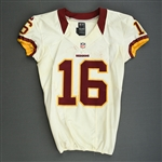 Banks, Brandon<br>White - Worn Thanksgiving Day, 11/22/12 vs. Dallas<br>Washington Redskins 2012<br>#16 Size: 40