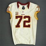 Bowen, Stephen<br>White - Worn Thanksgiving Day, 11/22/12 vs. Dallas<br>Washington Redskins 2012<br>#72 Size: 50