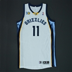 Conley, Mike * <br>White Regular Season w/10th Anniversary Patch - Photo-Matched to 10 Games<br>Memphis Grizzlies 2010-11<br>#11 Size: XL+4