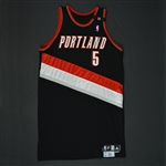 Fernandez, Rudy * <br>Black w/Duckworth Memorial Stripe - Photo-Matched<br>Portland Trail Blazers 2008-09<br>#5 Size: 48+6