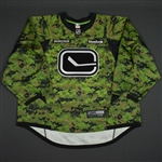 Markstrom, Jacob * <br>Camouflage - Warm Up - Worn on February 25, 2016 vs. Ottawa Senators - Autographed<br>Vancouver Canucks 2015-16<br>#37 Size: 58G