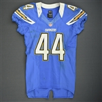 Battle, Jackie<br>Powder Blue Throwback - worn November 25, 2012 vs. Baltimore<br>San Diego Chargers 2012<br>#44 Size: 44