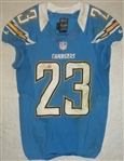 Jammer, Quentin<br>Powder Blue Throwback - worn November 25, 2012 vs. Baltimore<br>San Diego Chargers 2012<br>#23 Size: 38