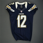 Meachem, Robert<br>Navy - worn December 2, 2012 vs. Cincinnati<br>San Diego Chargers 2012<br>#12 Size: 42