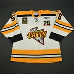 Martens, Andrew * <br>White Set 1 -  w/ Chiefs 20 Seasons Patch and ECHL 20 Year Patches<br>Johnstown Chiefs 2007-08<br>#55 Size: 56